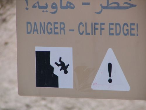 Cliff edge sign